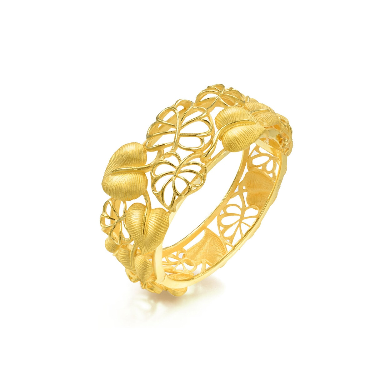 chinese wedding collection 'floral' 999.9 gold bangle   chow sang