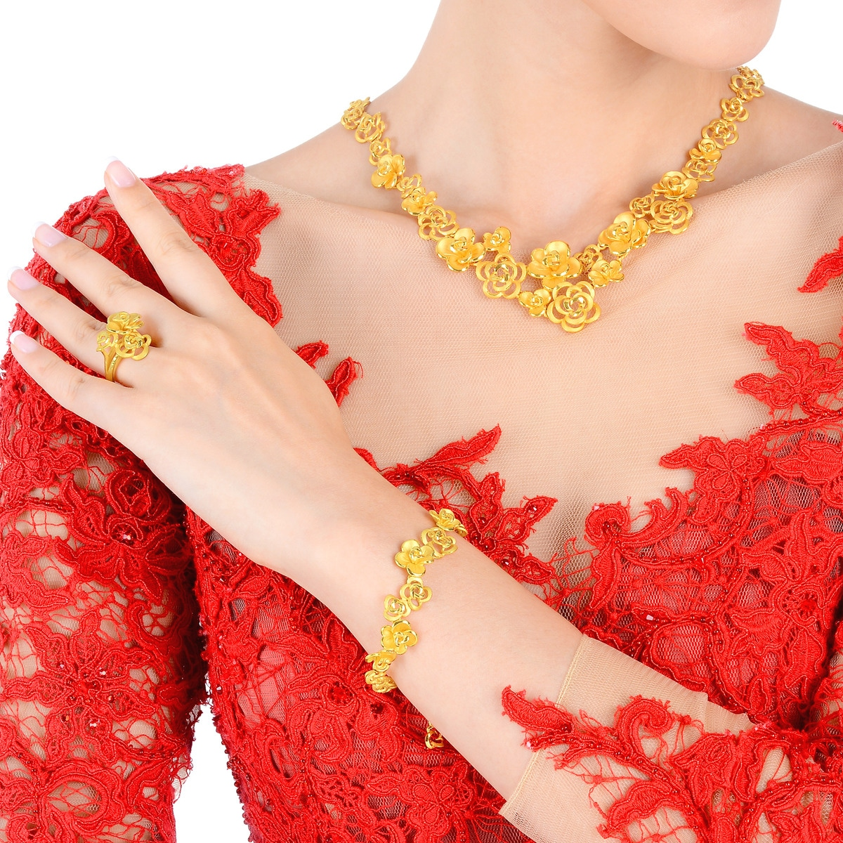 Chinese Wedding Collection \'Floral\' 999.9 Gold Necklace | Chow ...