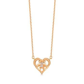 愛心 18K玫瑰金鑽石項鍊
