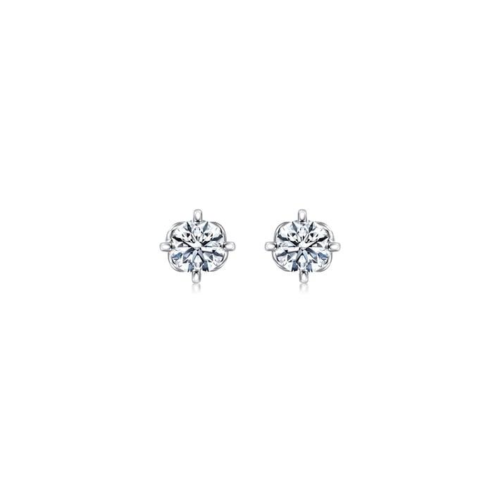 「同心」18K白色黃金鑽石耳環