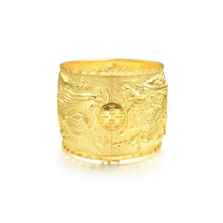 'Dragon & Phoenix' 999.9 Gold Bangle