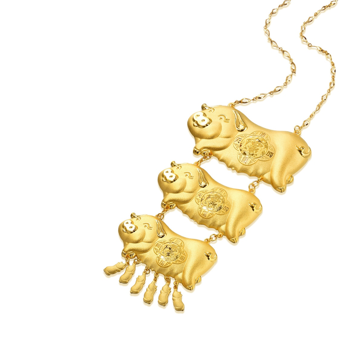 Chinese Wedding Collection Love Symbol 9999 Gold Necklace Chow