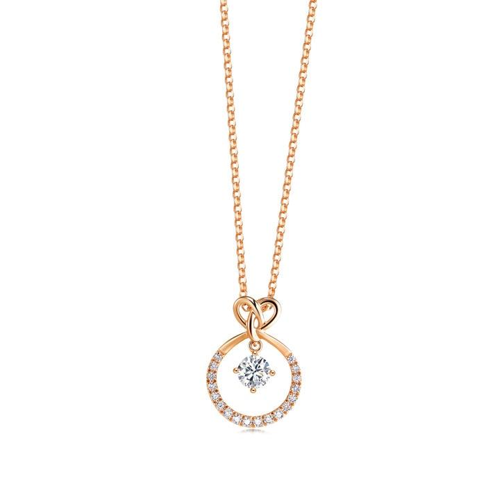 'Love Knot' 18K Rose Gold Diamond Necklace