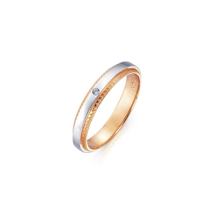 「小皇冠」18K黃金及950鉑金鑽石戒指