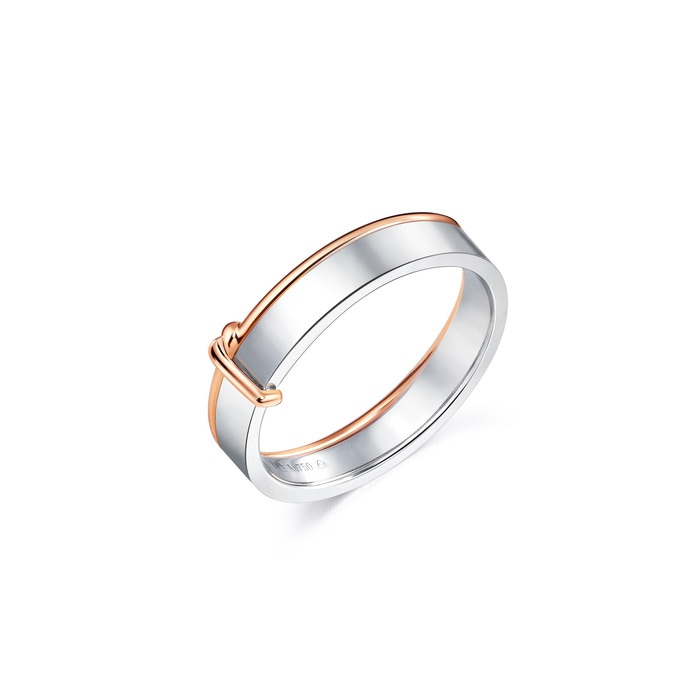 18K White & Red Gold 'Love Knot' Ring